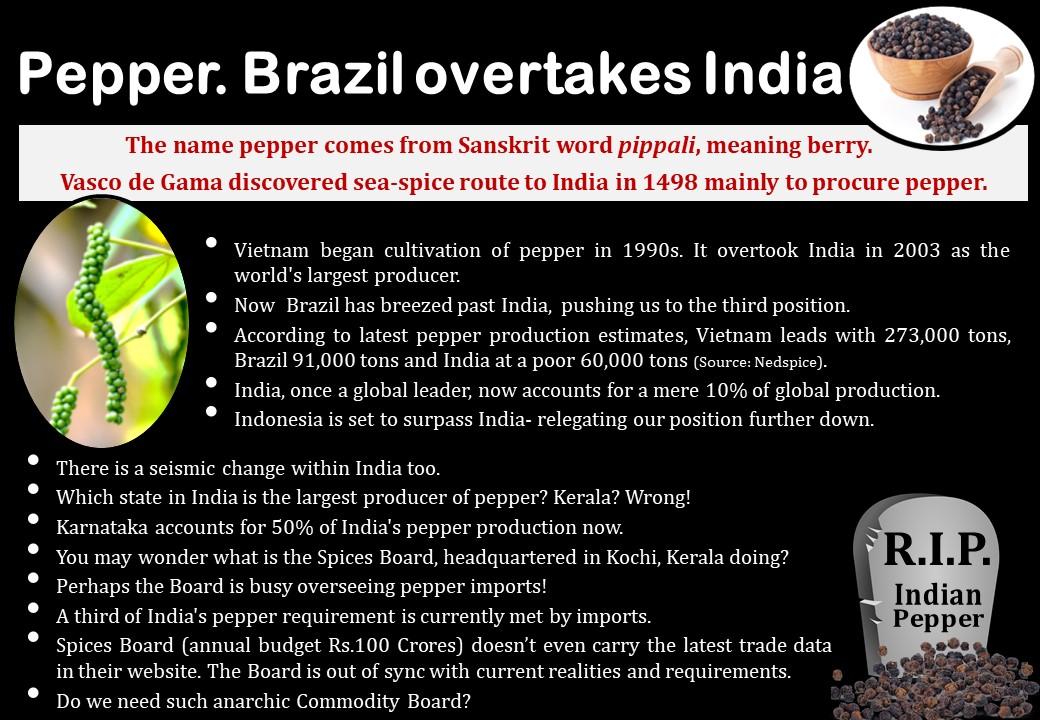 Pepper. Brazil beats India